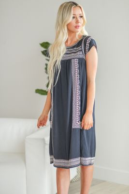 Christine Modest Dress in Navy Blue w/Pink & Ivory Embroidery