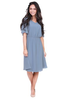Claire Modest Bridesmaid Dresses in Dusty Blue / Denim Blue *Restocked*