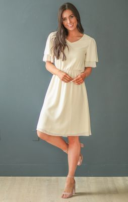 Claire Modest Chiffon Dress in Ivory / Cream