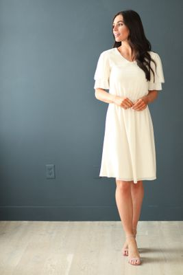 Claire Modest Dress in Ivory / Cream
