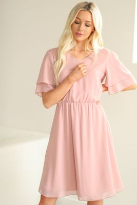Claire Modest Chiffon Dress in Mauve Pink