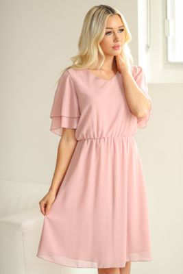 Claire Modest Chiffon Dress in Mauve Pink *RESTOCKED*