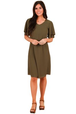 Claire Modest Chiffon Dress in Olive Green