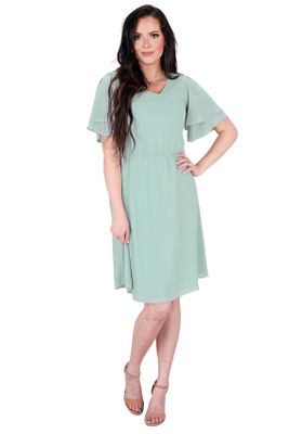 Claire Modest Chiffon Dress in Sage Green