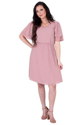 Claire Modest Chiffon Dress in Woodrose