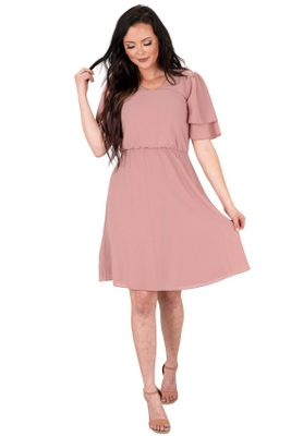 Claire Modest Dress or Bridesmaid Dress in Woodrose Pink (Mauve or Dusty Lilac)