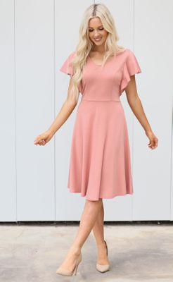 Daisy Modest Dress or Bridesmaid Dress in Dusty Rose Pink