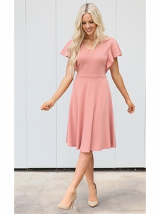 ae42698bfe Daisy Modest Dress or Bridesmaid Dress in Dusty Rose Pink