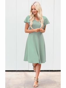 6cac2cf350560 Daisy Modest Dress or Bridesmaid Dress in Sage Green (aka Dusty Mint Green)