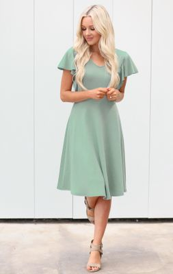 Daisy Modest Dress or Bridesmaid Dress in Sage / Dusty Mint Green