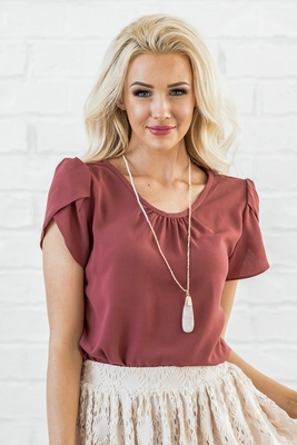 Modest Sister Missionary Blouse or Top in Mauve Rose Drape Chiffon