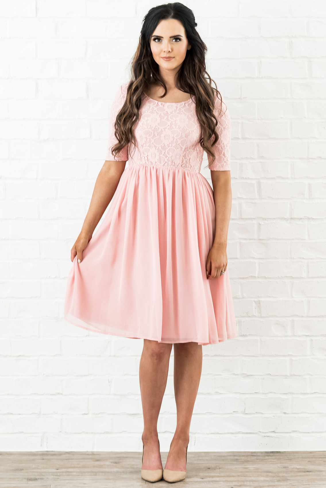 72dd468c53f Erica (or Erika) Modest Dress or Bridesmaid Dress in Blush Pink Lace ...