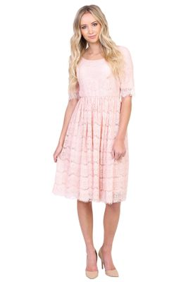 Evelyn Modest Dress in Blush Pink Eyelash Lace, Modest Bridesmaid Dress
