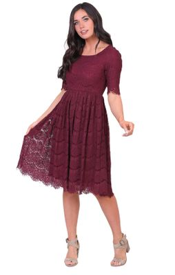 Evelyn Modest Dress in Burgundy/Wine Eyelash Lace