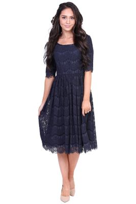 Evelyn Modest Dress in Navy Blue Eyelash Lace, Modest Bridesmaid Dress
