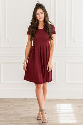 Hazel Modest Christmas Dress in Cranberry (aka Dark Red or Burgundy), Modest Bridesmaid Dress