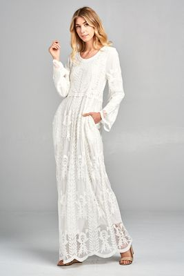 """""""Hope"""" LDS Temple Dress w/Pockets in White Lace"""