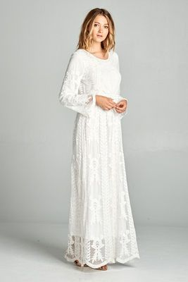 """Hope"" LDS Temple Dress w/Pockets in White Lace"