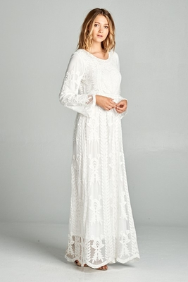 """Hope"" LDS Temple Dress in White Lace"