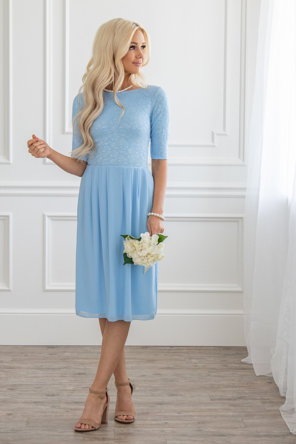Jada Modest Dress Or Bridesmaid In Light Blue Lace Chiffon White Sky