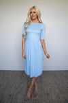 Jada Modest Dress or Bridesmaid Dress in Light Blue Lace / Sky Blue