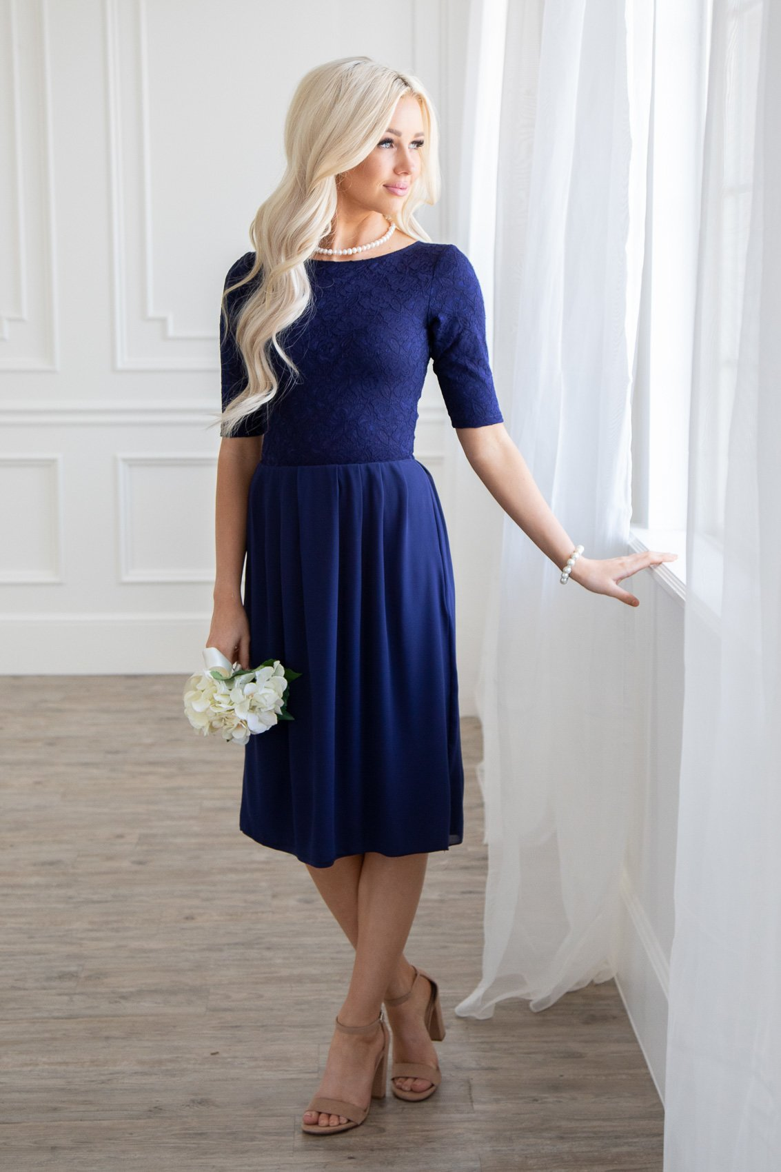 56f6a8d77f0e Jada Modest Dress or Bridesmaid Dress in Navy Blue Lace & Chiffon