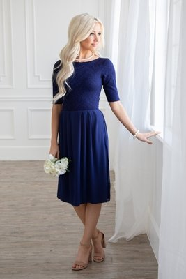 Jada Modest Dress or Bridesmaid Dress in Navy / Dark Blue Lace *RESTOCKED*