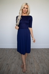 Jada Modest Dress or Bridesmaid Dress in Navy / Dark Blue Lace