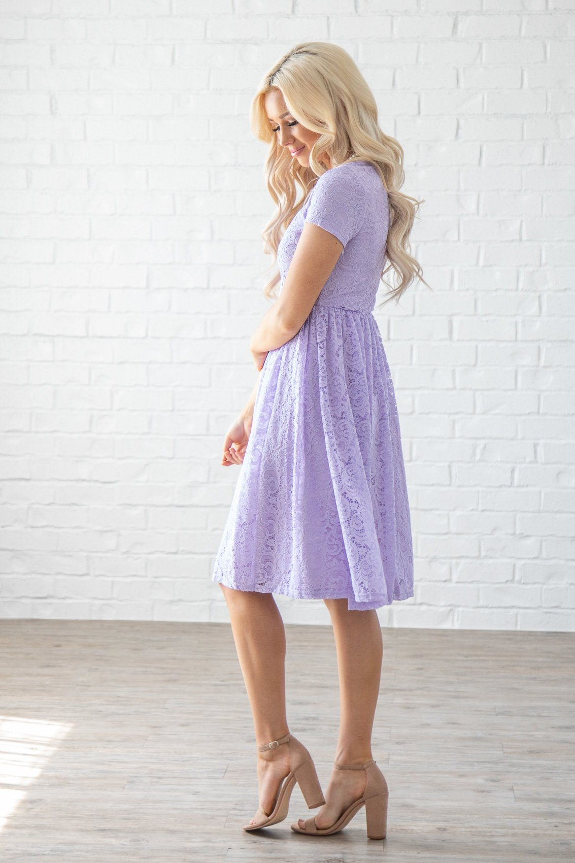 d36fe9d75ed Jenna Modest Lace Dress or Bridesmaid Dress in Pastel Lilac   Lavender ...