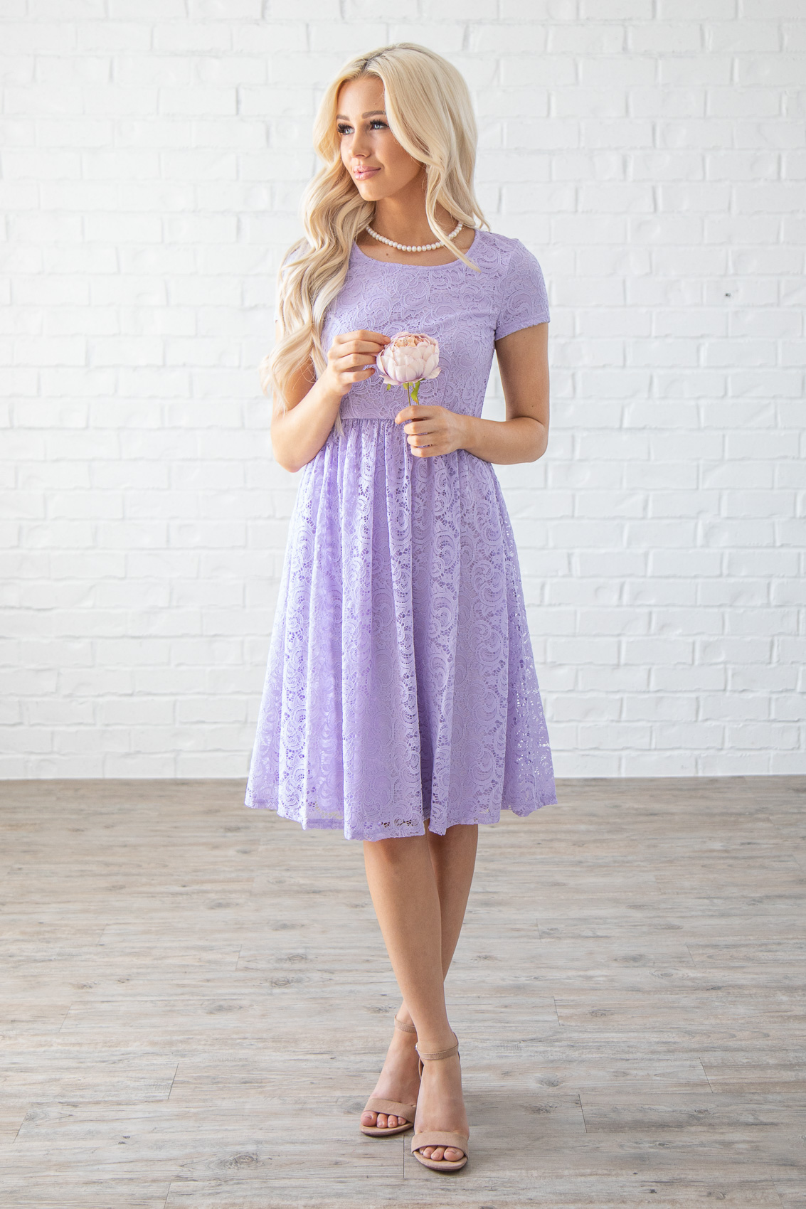 839c1b4eec4 Jenna Modest Lace Dress or Bridesmaid Dress in Pastel Lilac   Lavender