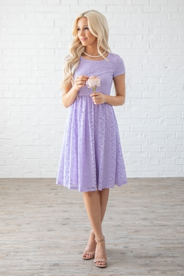 Jenna Modest Bridesmaid Dress in Pastel Lilac / Lavender Lace