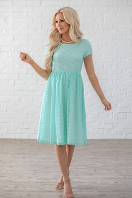 Jenna Modest Lace Dress or Bridesmaid Dress in Mint w/White Lining