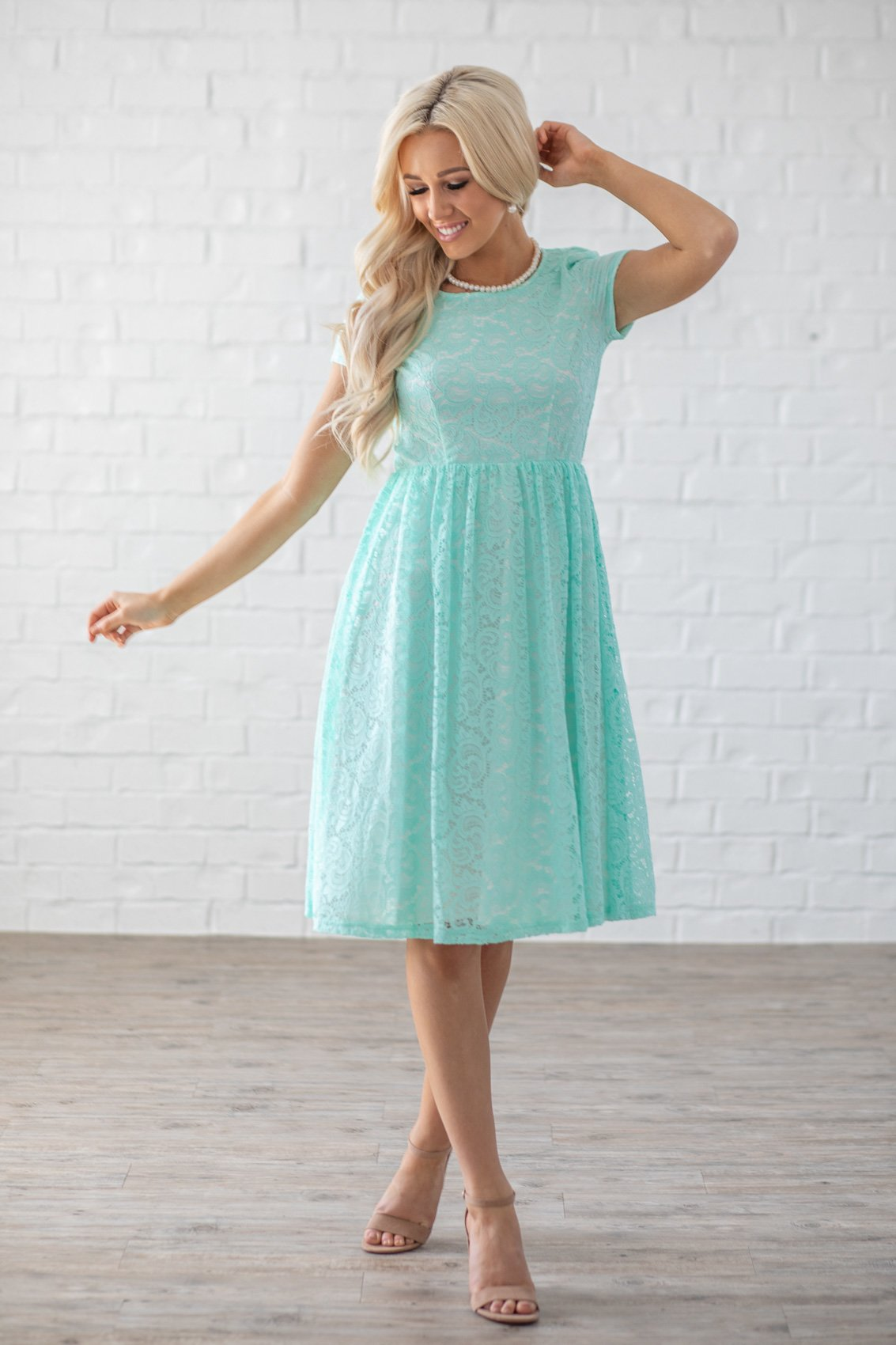 810ee6f6a83 Jenna Modest Lace Dress or Bridesmaid Dress in Mint w White Lining