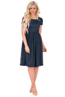 """Jenna"" Modest Lace Dress or Bridesmaid Dress in Navy Blue"