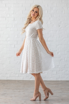 Jenna Modest Lace Dress in White w/Beige/Nude Lining