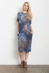 Jewel Modest Midi T-Shirt Dress in Blue & Brown Galaxy Tie Dye