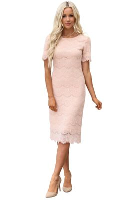 Jill Modest Dress in Blush Pink Eyelash Lace, Modest Bridesmaid Dress