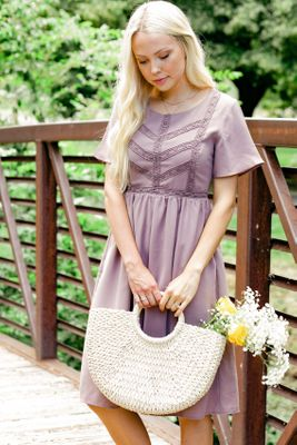 Kate Modest Spring Dress in Dusty Lilac, Cute Modest Easter Dresses