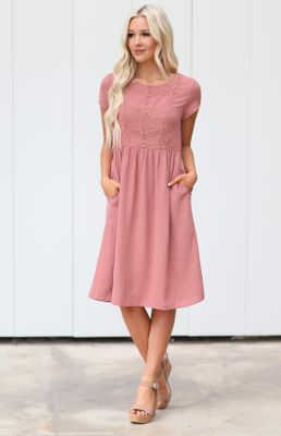 Kate Modest Dress in Mauve Pink / Dusty Rose