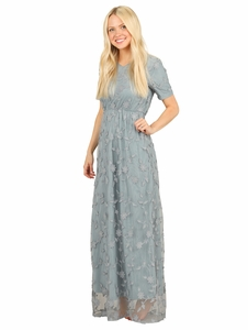 483bf54dacdd4 Kinsley Modest Maxi Dress in Dusty Blue w/Textured Floral Overlay  *RESTOCKED*