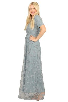 Kinsley Modest Maxi Dress in Dusty Blue w/Textured Floral Overlay, Modest Bridesmaid Dress