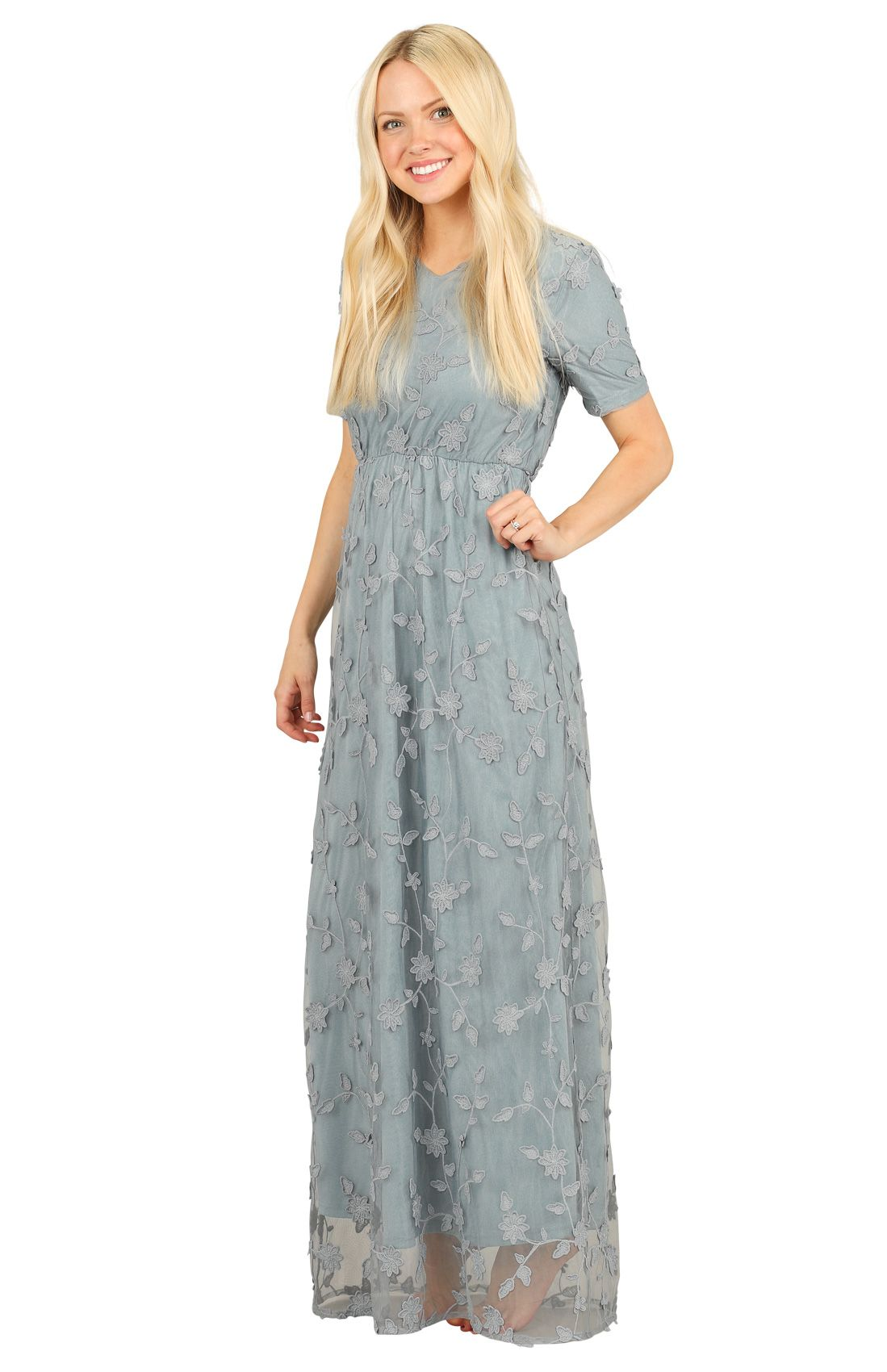 d187af5fc4982 Kinsley Modest Maxi Dress in Dusty Blue w/Textured Floral Overlay  *RESTOCKED*