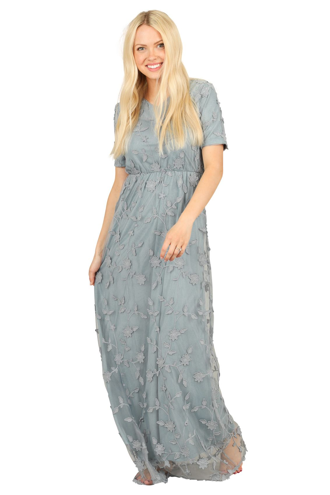 6529383760858 Kinsley Modest Maxi Dress in Dusty Blue w/Textured Floral Overlay  *RESTOCKED* ...