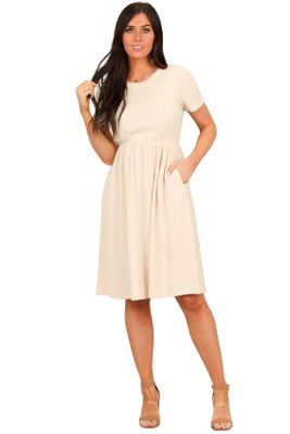 Kristen Modest Church Dress in Textured Cream
