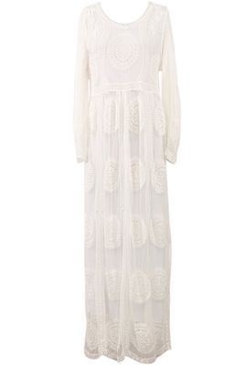 """""""Lily"""" LDS Temple Dress w/Pockets in White Medallion Lace"""