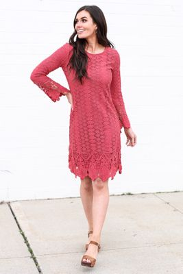 Lola Modest Boho Dress in Coral / Dark Pink Eyelet Lace Overlay