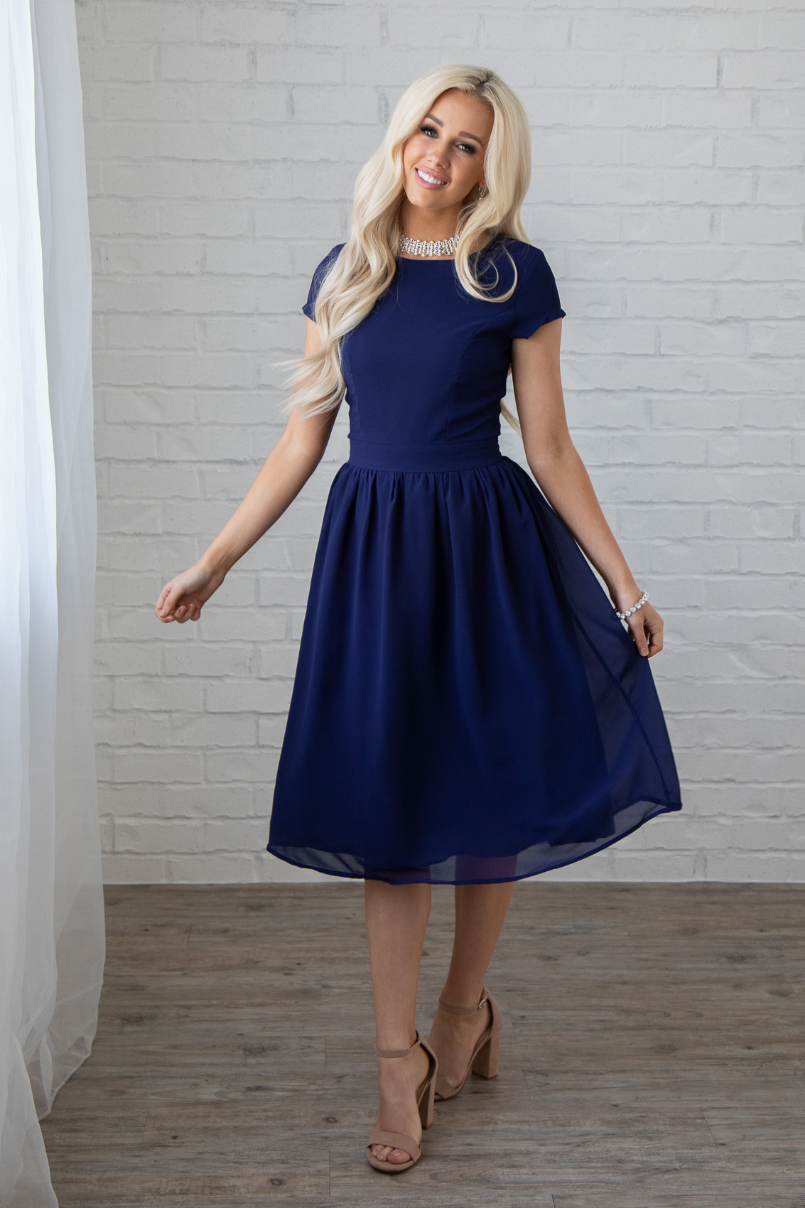 e0672ce055 ... Lucy Modest Bridesmaid or Semi-Formal Dress in Navy   Dark Blue
