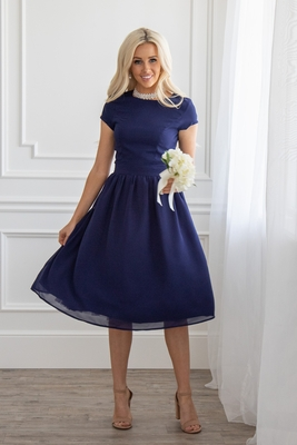 Lucy Modest Bridesmaid or Semi-Formal Dress in Navy / Dark Blue