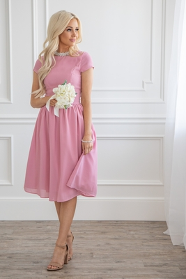 Lucy Modest Bridesmaid or Semi-Formal Dress in Blush Pink