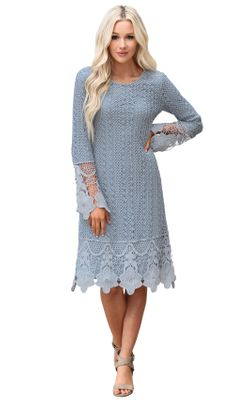 Lydia Modest Boho Dress in Light Blue Lace Overlay, Modest Bridesmaid Dress